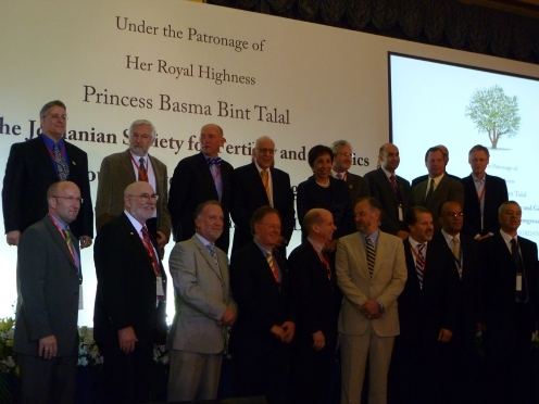 Opening Session of the JORDIAN SOCIETY FOR FERTILITY AND GENETICS Congress and Commencement for the Stem Cell Workshop. High Royal Highness Princess Basma Bint Talal of Jordan (Center). Dr. Zaid Kilani is directly to her right and the authors (B.S.; 3rd right and G.S.; her left) are also in this figure together with many of the speakers