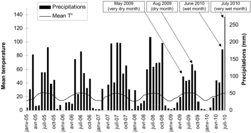 Mean temperature and precipitations in Liuku.Diagram from Liuku meteorological station situated 30 km south from the field site (source: Meteorological Bureau of Yunnan Province). Data from January 2005 to May 2010. Arrows show the months when roots were collected.