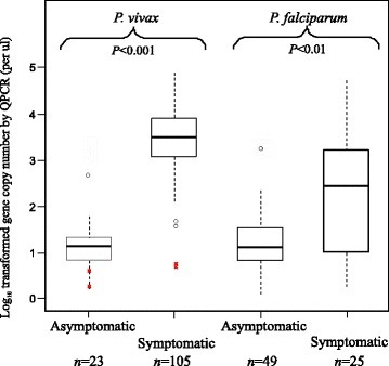 Box plot of the log-transformed parasite gene copy number ofPlasmodium vivaxandPlasmodium falciparummeasured by qPCR in asymptomatic and symptomatic samples from Asendabo (community) and Jimma (hospital), respectively. The central box represents the interquartile range and the vertical lines represent the first and fourth quartiles of the data. The median is shown as a line through the centre of the box. Outlier samples are represented by open circles. The gene copy number of P. vivax detected in the four Duffy-negative individuals are indicated by crosses in red. Numbers (top) indicate the number of individuals included. P-values (below) are provided for the comparison of gene copy number between asymptomatic and symptomatic samples with respect to P. vivax and P. falciparum.