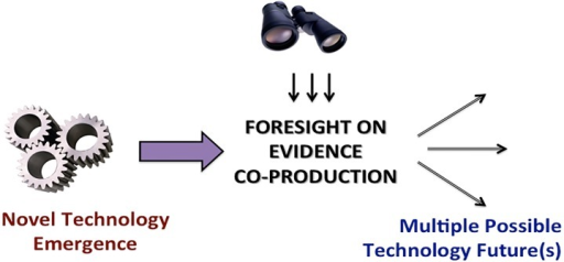 Evidence as the focus of foresight research.Situated conceptually between novel technology emergence and adoption future(s), examination of the attitudes towards co-production of technology-related evidence by the innovation ecosystem constituents (e.g., scientists and policymakers) can help build strategic foresight on the innovation trajectory.