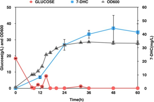 Optimization of the 7-DHC production in bioreactor.SyBE_Sc01100020 was cultivated in a 5-L bioreactor and the glucose was controlled under a concentration of 2 g/L. The red line stands for the concentration of glucose, the gray line stands for the cell density and the blue line stands for the production of 7-DHC.