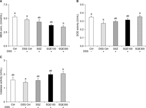 Administration of SQE regulates antioxidant enzyme activity in DSS-induced colitis mice. Levels of MDA (A) and SOD (B) were examined by commercial kit in plasma for all groups. (C) Catalase activity was examined in colon tissues by using a commercial kit. Data are shown to as the mean ± SEM and were analyzed using one-way ANOVA and Tukey's post-hoc test (P < 0.05); n = 10 mice per group. Different letters are used to indicate significant differences. SQE, Sasa quelpaertensis extract; DSS, dextran sulfate sodium; MDA, malondialdehyde; SOD, superoxide dismutase; conc., concentration; Ctrl, control; SSZ, sulfasalazine.