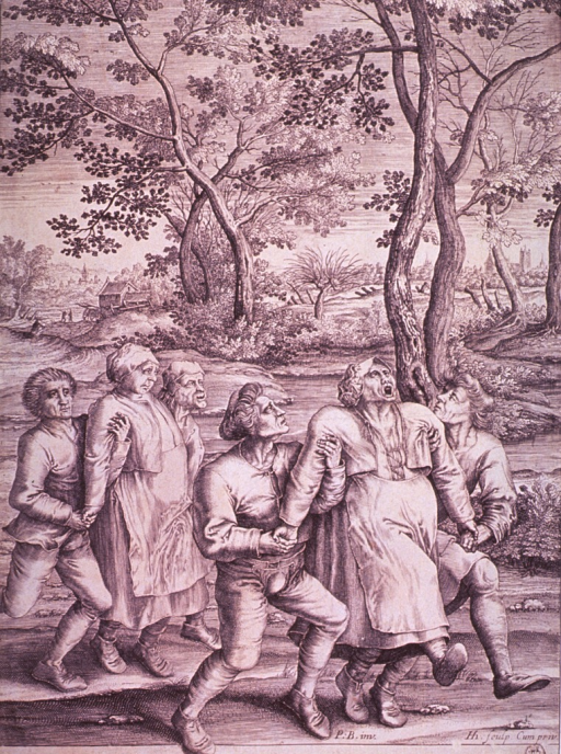 <p>Two somewhat deranged women are being helped along by four men; two of the men hold the most violent woman by the arms.</p>