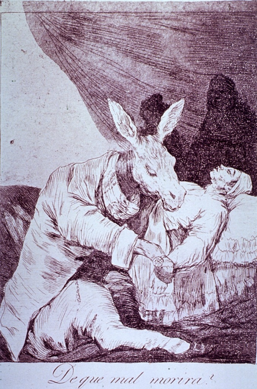 <p>A donkey wearing a jacket takes the pulse of a man reclining in bed with his eyes closed. In the background, two shadowy figures appear behind a curtain.</p>