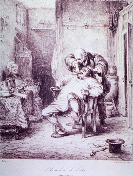<p>Interior view: A patient sitting in a chair is having a tooth extracted by an itinerant dentist; a woman is sitting against the wall to the left next to a table; the patient's hat and walking stick are on the floor in the foreground.</p>