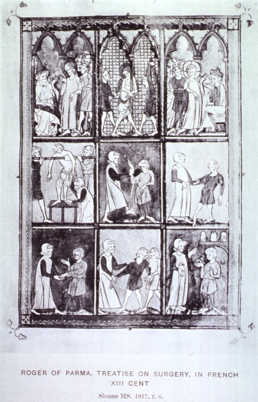 <p>Nine scenes of people relating to each other during the beginning-to-end process of surgery.</p>