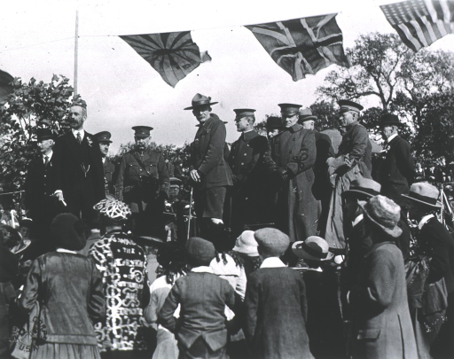 <p>Addressing Boy Scouts, England, 1918.  Accompanied by Col. Anderson and staff from Base Hospital no. 29.</p>