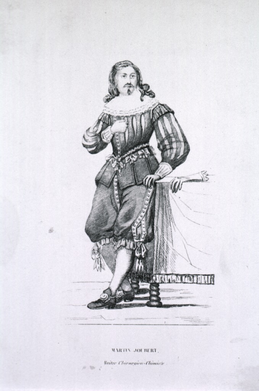 <p>Full length, standing, full face; hand in gauntlet on table.</p>