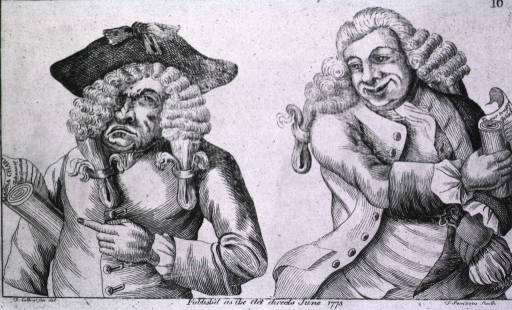 <p>Illustrating the ups and downs of a political career: two men, one with disheveled wig represents the old government, and the other man with a big smile and holding the change purse represents the new.</p>