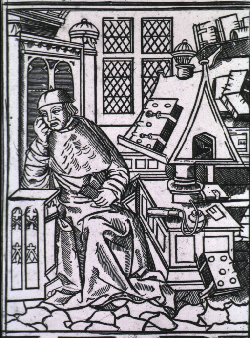 <p>Full length, seated in library, right pose, head turned to the left and resting on right hand; a book sits on a stand on a desk, others fill the shelves in the background.</p>