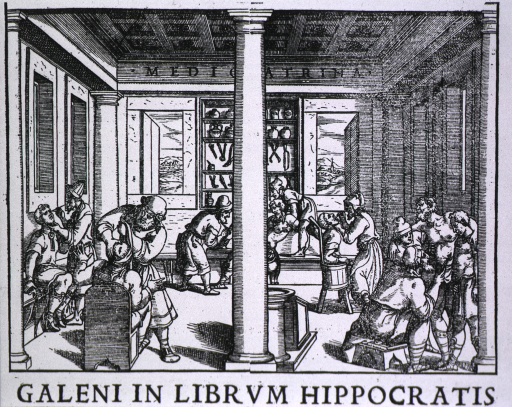 <p>Clinic scene, reproduced from the 1550, Venice edition of Galen's Opera Omnia.  An interior, with trephining couching for cataract, dentistry, treatment of abdominal and leg wounds taking place.  On the back wall, a group of instruments hand below jars in a cabinet.</p>