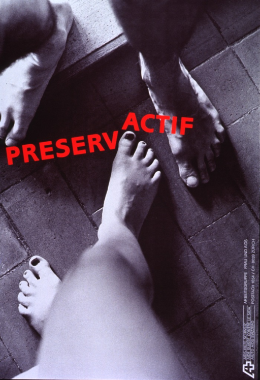 <p>Entire poster is a black and white photograph with red and white lettering. The title (in red letters) is superimposed on a photograph that only shows two pairs of lower legs and bare feet, which are on a bare floor. The title word is across the middle of the photograph with the latter portion &quot;actif&quot; out of alignment with the earlier portion of the title word. Organization information is in the lower right-hand corner, perpendicular to the bottom of the poster.</p>