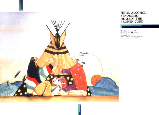<p>Sam English's painting &quot;Healiing the Broken Cord&quot; depicts two adult Native Americans kneeling in front of a tepee.  The man is handing a naked baby to the woman.  Between them appear a smaller, grey-haired couple.  A white bird flies over the woman's head, pulling a sphere with stick figures of people on it.</p>