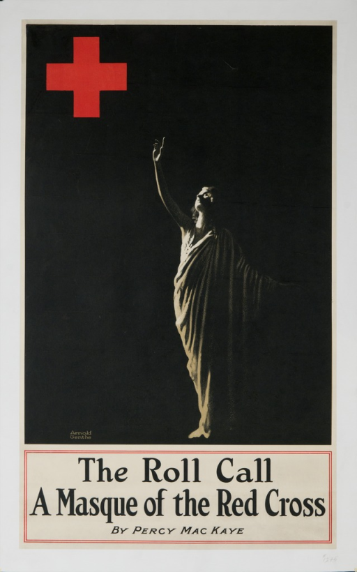 <p>Dominant image is of a woman draped in a toga reaching up toward the symbol of the Red Cross with her right hand. Title below image.</p>