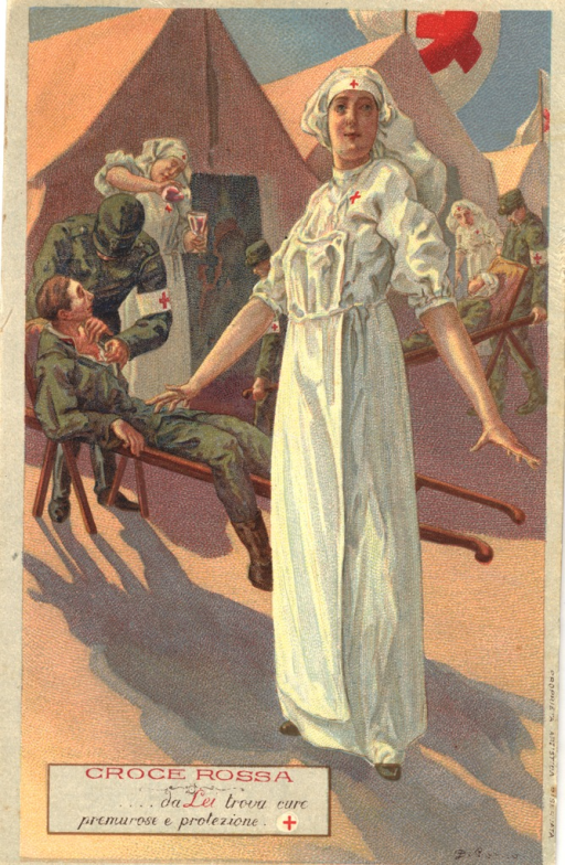 <p>Painting of a nurse standing in front of other nurses helping wounded soliders. Artist signature in lower right-hand corner.</p>