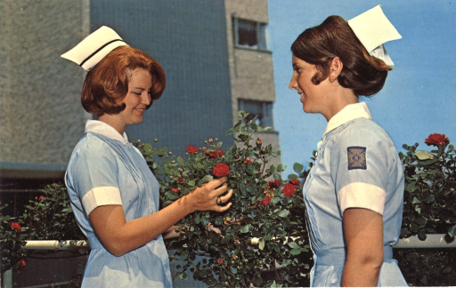 <p>Color photograph of two nurses dressed in blue and white uniforms. The nurse on the right is looking at the nurse on the left who is holding a rose on the bushes behind them. The Cochran School of Nursing is in the background.</p>