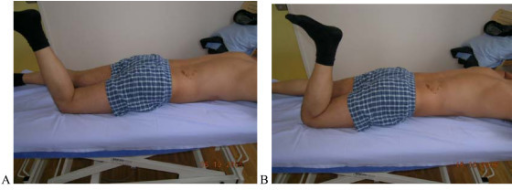 "Test protocol – Prone lying active knee flexion. A. Correct – Prone lying active knee flexion at least 90° without (rot) movement of the low back and pelvis. B Not correct Pelvis rotates with knee flexion. Rating protocol: As patients did not know the tests, only clear movement dysfunction was rated as ""not correct"". If the movement control improved by instruction and correction, it was considered that it did not infer a relevant movement dysfunction."