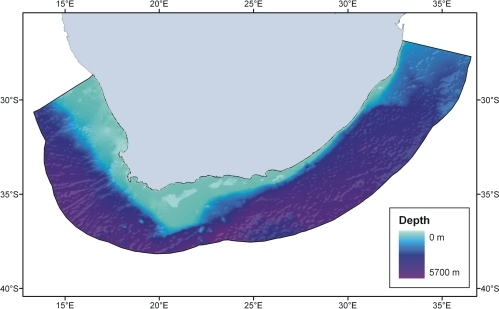 Map showing seafloor depths and the boundaries of South Africa's continental Exclusive Economic Zone (EEZ).