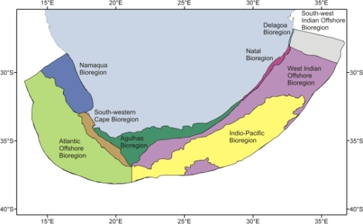South Africa's nine marine bioregions, as defined by Lombard [14].