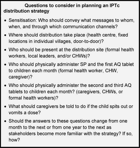 Questions to consider in planning an IPTc distribution strategy.