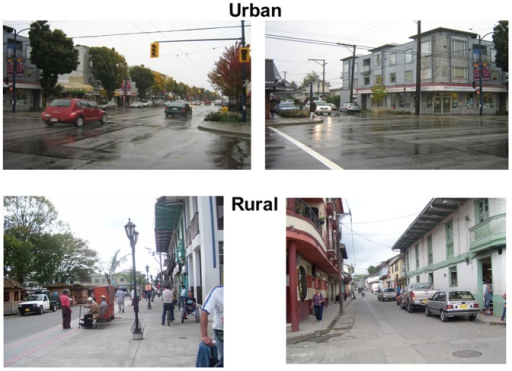 Examples of high scoring communities.In these communities from urban Canada and rural Colombia the common high-scoring characteristics are complete sidewalks, several planted trees, traffic signals, and pedestrian traffic signs, well maintained buildings and roads and the presence of street furniture such as benches and street lamps.