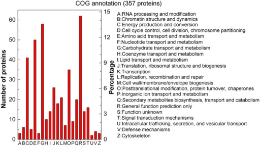 COG annotation of the total identified 803 proteins.COG annotations for 357 proteins were grouped into 22 categories. The left y-axis indicates the number of proteins in a particular category. The right y-axis indicates the percentage of a specific category of proteins in that main category.