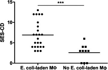 Higher median endoscopic severity score for CD patients with E. coli-laden LP macrophages compared with those without E. coli-laden LP macrophages at biopsy (P < .001, Mann-Whitney test). SES-CD; simplified endoscopic score for Crohn's disease, Mø; macrophages
