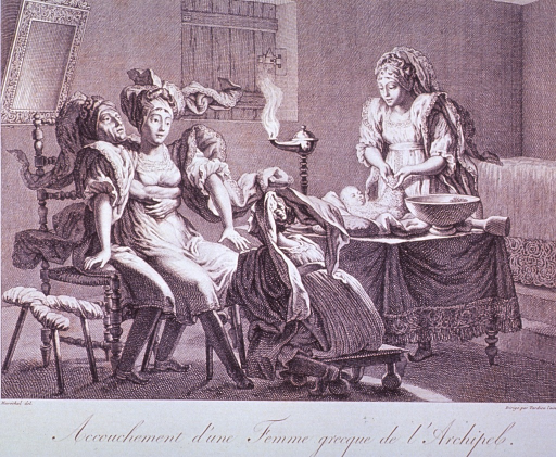 <p>A woman is giving birth with the aid of three midwives; she is sitting in the lap of one who has her arms around her; the second, sitting on a low stool, is reaching under her dress; and the third is standing at a table on which rests a newborn infant.</p>
