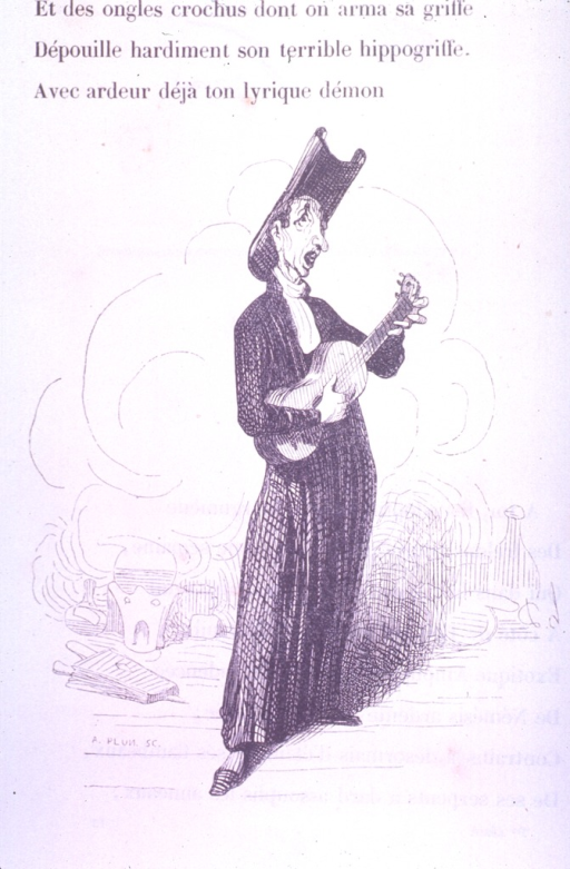<p>A full-length caricature of Orfila playing the guitar.</p>