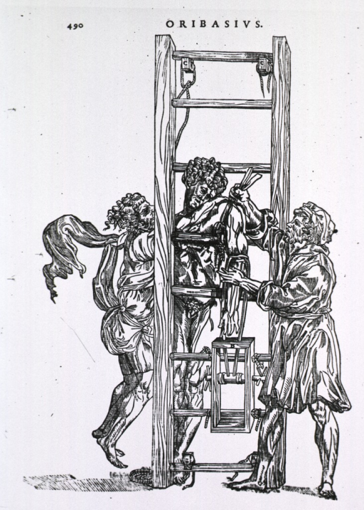<p>Man in traction ladder for shoulder treatment, with two men providing tension.</p>