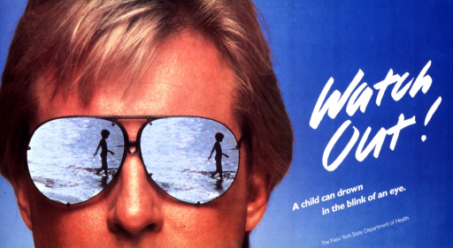<p>Predominantly blue poster with white lettering.  Title on right side of poster.  Image on left side of poster is a reproduction of a color photo of a man wearing reflective sunglasses.  His sunglasses reflect a child wading in open water, such as a lake or the ocean.  Publisher information near lower right corner.</p>