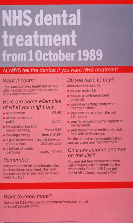<p>Predominantly red and gray poster with white and black lettering.  Poster is all text.  Title at top of poster.  Note below.  Additional text explains possible charges for dental services and lists eligibility criteria.  Publisher information at bottom of poster.</p>