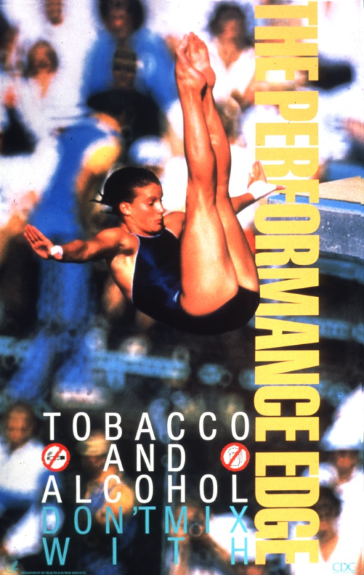 <p>A young woman is diving. In the background is a crowd of spectators in soft focus.  The logos for &quot;Don't smoke&quot; and &quot;Don't drink&quot; are next to the words.</p>
