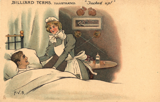 <p>A color illustration of a patient &quot;tucked in&quot; in bed. The nurse is standing next to the bed, straightening the pillow and pulling a blanket over the young man. They are smiling at each other. Behind the nurse is a small table with a bottle and a small glass. On the wall are hanging boxing gloves, fencing swords, and a small picture. In the left corner is artist's signature P.V.B.</p>