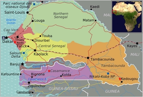Geographical Context Map Of Senegal Showing Regions And Boundaries With The Gambia