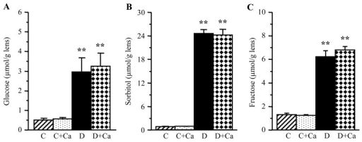 Lens glucose and sorbitol pathway intermediate concentrations in control and diabetic rats maintained with or without cariporide treatment. C, control group; D, diabetic group; Ca, cariporide. Mean ± SEM, n=6/group. **P<0.01 vs. the controls.