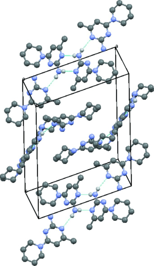 Crystal packing of the title compound with hydrogen bonds drawn as dashed lines.