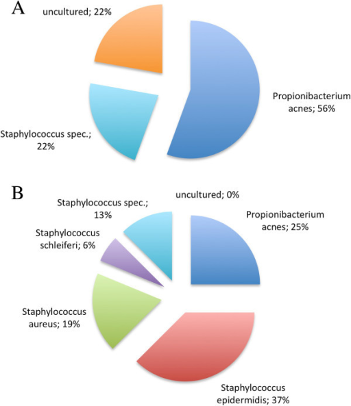PMC3639834_1749 8090 8 73 1 microbial findings at analyzed implants the pie charts open i