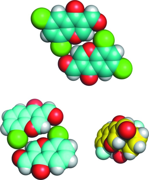 Sphere models of the crystal structures of 6,8-dichloro-4-oxochromene-3-carbaldehyde (top), 8-chloro-4-oxo-4H-chromene-3-carbaldehyde (bottom left), and the title compound (bottom right).