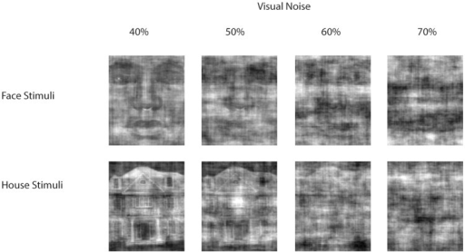 Example stimuli used in the experiment representing faces (upper row) or houses (lower row) with increased levels of visual noise from left to right.