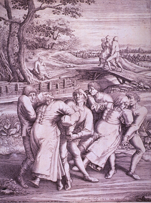 <p>Three pairs of men are forcibly moving three insane women along the road; two of the women are held by the arms, the third, in the background, is being carried; a fourth woman is sitting under a tree, and will perhaps suffer the same fate as the others.</p>