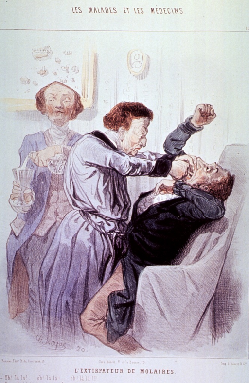 <p>A man struggles as a dentist extracts a tooth.  A dental assistant stands to the left holding a glass.</p>