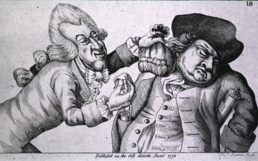 <p>A man, representing the French, offers another man, representing the English, &quot;crumbs of comfort&quot; while lifting papers from the pocket of this acquiescent Englishman.</p>