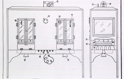 <p>Side and front view of Sloane Hospital Incubator, devised by Dr. Edwin Cragin to improve constancy of air temperature, with sections and parts labeled.</p>