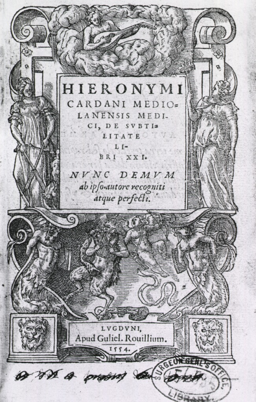 <p>Title page illustration with female and mythological figures.</p>