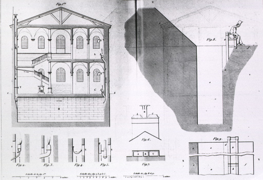 <p>Plan for two level building with detail of waste disposal and ventilation systems.</p>
