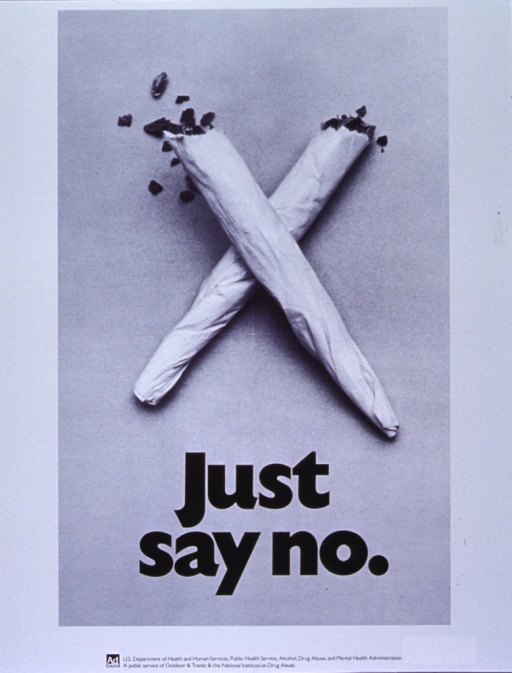 <p>White poster with photo image of two marijuana cigarettes crossed to form an &quot;x&quot;.  Title in bold black print under cigarettes.  Logo for the Ad Council and names of supporting agencies at bottom of poster.</p>