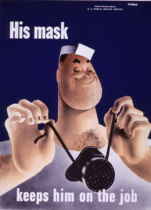 <p>A smiling, burly man is holding a mask that will cover his mouth and nose.</p>
