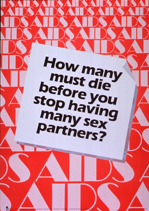 <p>Orange background with white and black lettering. The word &quot;AIDS&quot; (in white letters) is repeated, covering the entire poster, with the font size getting larger as one reads down the poster. Overlaying the middle portion of the collection of &quot;AIDS&quot; words is a white sheet with the title (in black letters) printed out on the sheet. Publisher information is at the very bottom of the poster.</p>