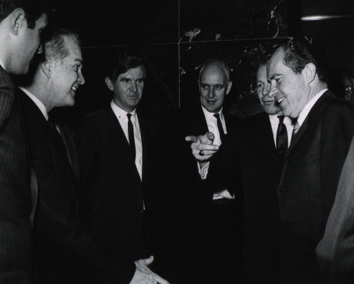<p>President Nixon greets Dr. Marston after introduction by Robert H. Finch.  Others shown are Philip R. Lee and William H. Stewart.</p>